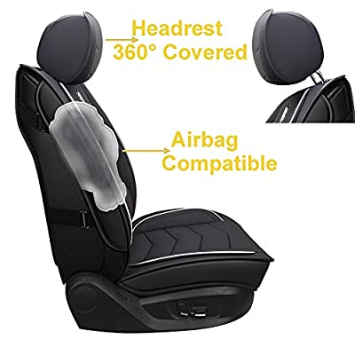 INCH EMPIRE 2 Front Car Seat Cover Water Proof with Built-in Lumbar Support Fit for Accord Legacy Outback WRX Crosstrek Hybrid Tacoma FJ Cruiser RAV4 Corolla Matrix Venza Avalon (2 Front Black&White): Automotive