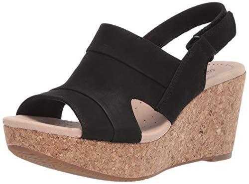 CLARKS Women's Annadel Ivory Wedge Sandal Black Nubuck 070 W - Heel Sandal 7 Black