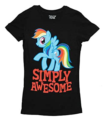 My Little Pony Rainbow Dash Simply Awesome Juniors Black T-Shirt (Juniors Small)