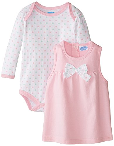 (Bon Bebe Baby Girls' Newborn Sweet Owl Bodysuit and French Terry Jumper Set, Cotton Candy Dots/Pink, 24 Months)
