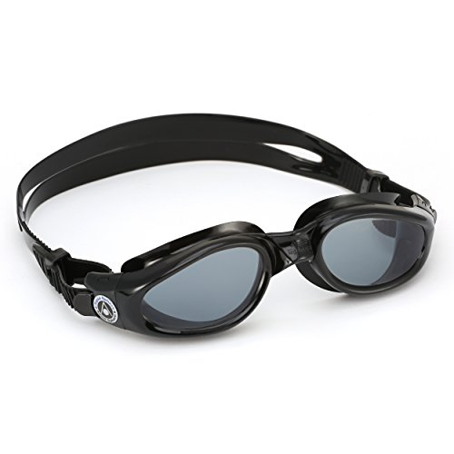 Aqua Sphere Kaiman Swim Goggles with Tinted Lens (Black). UV Protection Anti-Fog Swimming Goggles for Adults
