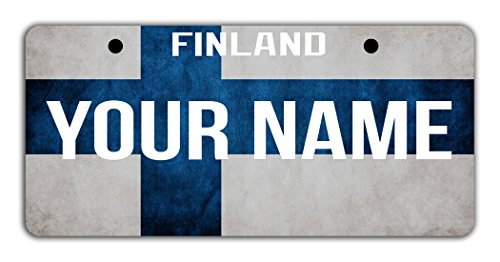 BleuReign(TM) Personalized Custom Name License Finland Flag Plate Bicycle Bike Moped Golf Cart 3