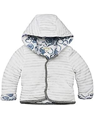 Boy Organic cotton watercolor reversible hooded jacket