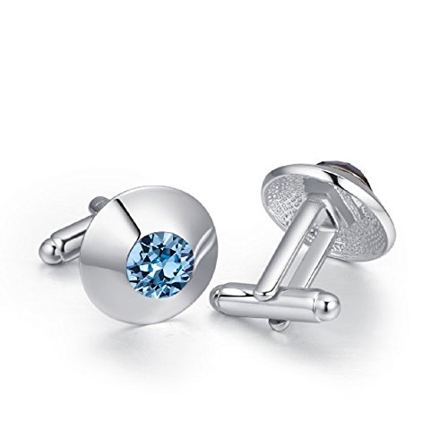 Crystals from Swarovski Blue Simulated Aquamarine Cufflinks 18 ct White Gold Plated for Women and -
