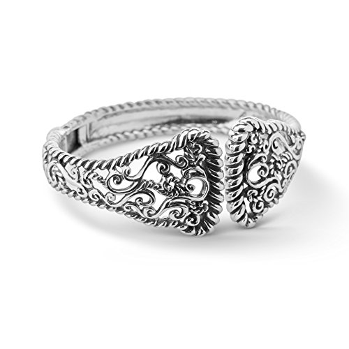 CP Signature Sterling Silver Filigree Rope Hinge Cuff Bracelet by Carolyn Pollack