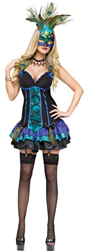 Funworld Womens Animals Sexy Midnight Peacock Adults Halloween Themed Costume, M (10-12) (Sexy Peacock Costume)