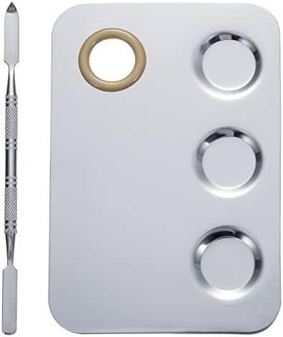 Mudder 5.8 by 4 Inches Makeup Palette Stainless Steel 3-Well Nail-art Palette Cosmetic Artist Mixing Palette with 5.9 Inches Spatula Tool