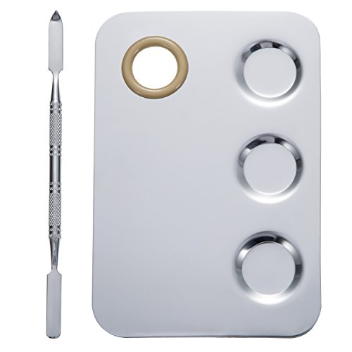 es Makeup Palette Stainless Steel 3-Well Nail-art Palette Cosmetic Artist Mixing Palette with 5.9 Inches Spatula Tool (Durable Palette)