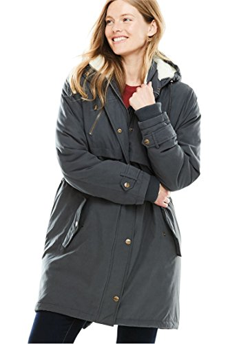 Women's Plus Size Silk Soft Utility Anorak Dark Charcoal,20 W by Woman Within (Image #2)