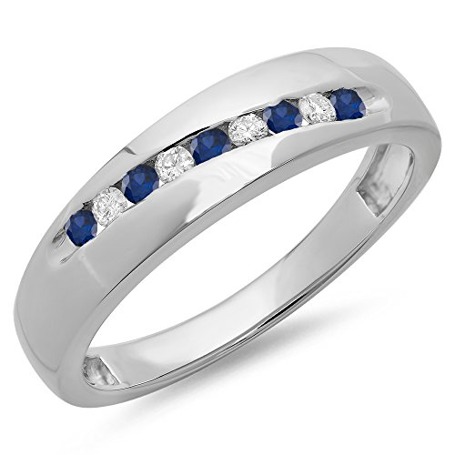 Dazzlingrock Collection Sterling Silver Round Blue Sapphire & White Diamond Men's Stackable Anniversary Wedding Band, Size 10.5