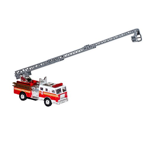 Master Toy Red Silver Fire Engine Truck With Ladder Children's Collectible Die-Cast Metal Toy With Pull-Back Action