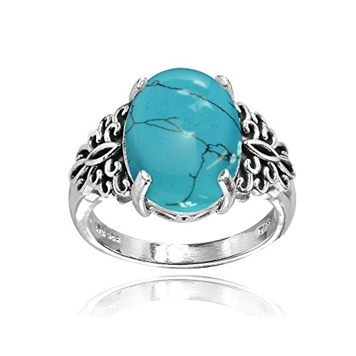 Sterling Silver Simulated Turquoise Oxidized Bali Inspired Filigree Oval Ring, Size 8