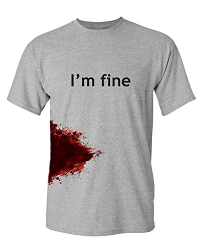 I'm Fine Graphic Cool Novelty Funny Youth Kids T Shirt YL Sport Grey (Medium T-shirt Only Youth)
