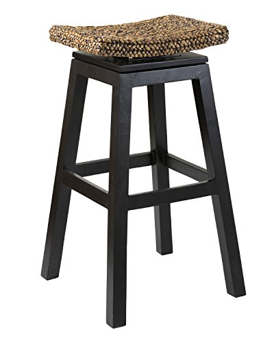 East at Main Leo Brown Wood and Water Hyacinth Barstool, (18x18x29.5)