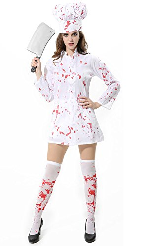 Halloween Horror Zombie Bloody Chef Costume Fancy Dress Party (Halloween Costumes For Skinny Guys)