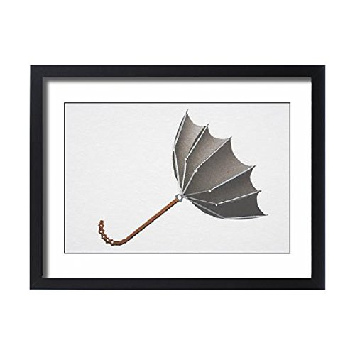Media Storehouse Framed 24x18 Print of Open umbrella blown upwards from convex into concave shape by strong wind (13560279) (Hurricanes Blown Wall Glass)