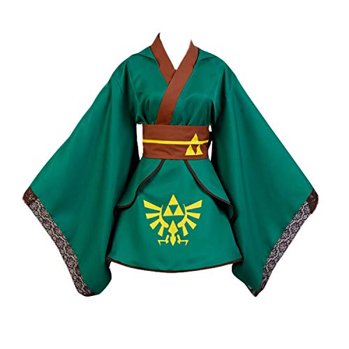 Ya-cos Women's The Legend of Zelda Link Dress Cosplay Costume Kimono Robe Outfit Suit,As Shown,Female Large