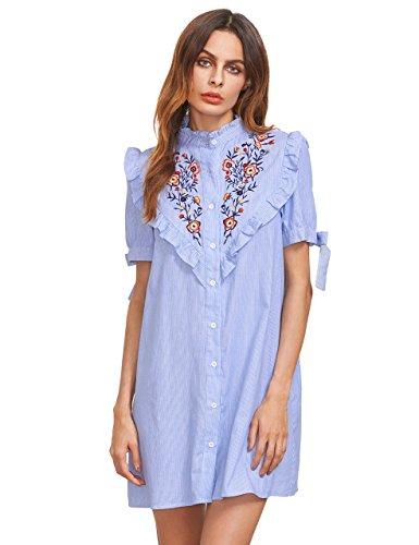Ruffle Trim Shirt Dress - 9