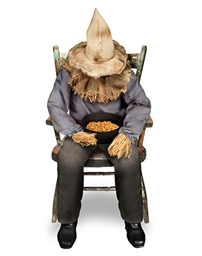 Spirit Halloween 4.5 Ft Sitting Scarecrow Animatronics - Decorations
