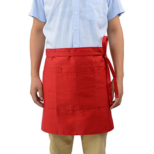 - ROTANET Waist Apron/Half Apron with 3 Pockets, Professional Grade for Home or Professional Kitchen - Durable, Comfortable, Easy Care(Red)