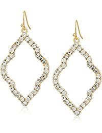 Fashion Glass Stone and Metal Cut-Out on a Fish Hook Drop Earrings