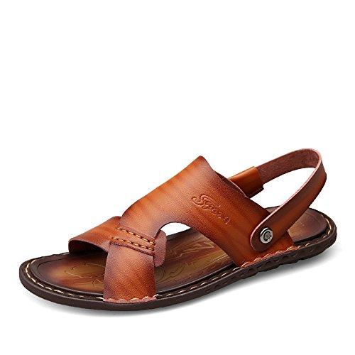 Nuovi sandali di estate sandali della fibra degli uomini che traspirano i pantaloni degli uomini dei sandali antisdrucciolevoli Gli usi doppi, marroni, UK = 6.5, EU = 40
