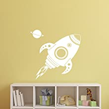 """Imprinted Designs Spaceship Rocket with Planet Wall Decal Sticker Art in White - 22"""" x 22"""" - Kids Room Wall Art - Children's Room Decor - Cute Boy's Nursery Wall Decorations"""