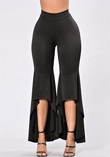 Party Fille Femmes De Élégant Style La Unicolor Mode Pantalon Noir Irrégulier Eté Casual Taille Haute gqzq0c1d