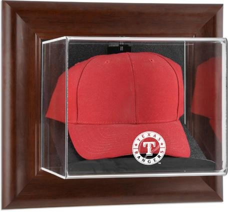(Texas Rangers Brown Framed Wall Mounted Logo Cap)