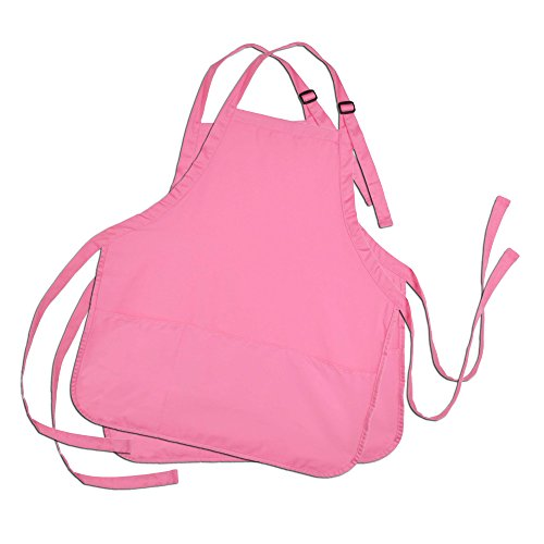 DALIX Apron Commercial Restaurant Home Bib Spun Poly Cotton Kitchen Aprons (3 Pockets) (2, Pink)