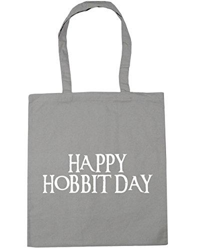 HippoWarehouse Happy hobbit day Tote Shopping Gym Beach Bag 42cm x38cm, 10 litres Light Grey