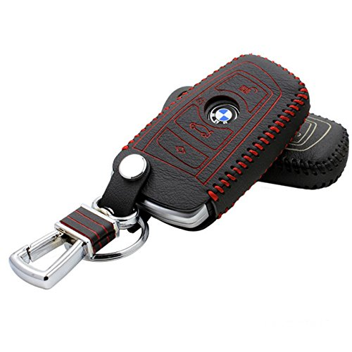 (Massimiliano Incas Hot Sports Genuine Leather Smart Key Remote Case Cover Fob Fits BMW (red))