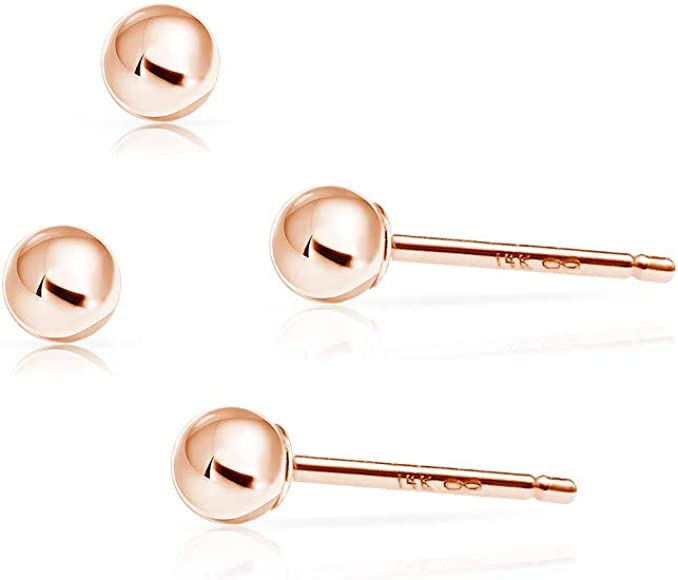 14k Yellow White or Rose Gold Ball Stud Earrings Set