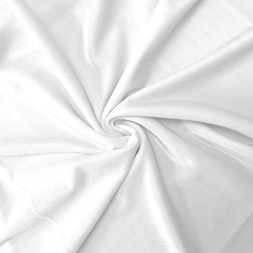 Sewing Velvet Fabric - Stretch Velvet Fabric 60'' Wide by the Yard for Sewing Apparel Costumes Craft (1 YARD, White)