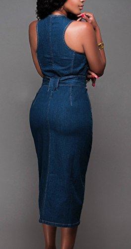 Vestiti Estivi Donna Vestiti Di Jeans Eleganti Senza Maniche Rotondo  Giovane Grazioso Collo Slim Fit Con Zip Hip Hop Moda Giovane Denim Vestito  Midi Women  ... 77eec17fc56e