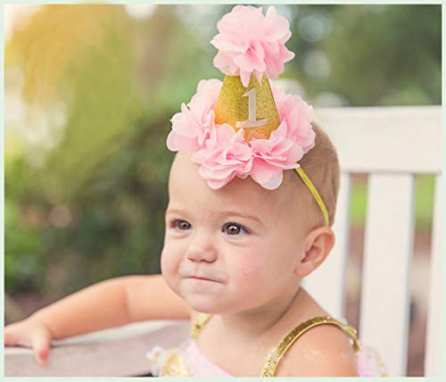 (First Birthday Floral Cone Hat Cute Baby Birthday Party Crown Headband Elastic Glitter Headband Photo Prop Hat(Pink))