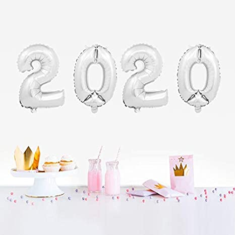 Happy New Year Zahl 40,6 cm Folienballons Eva Party Decor Merry Christmas Bright Gold Yuanzhou 4 St/ück Welcome 2020 Ballons