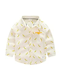 Tortor 1Bacha Little Boys' Roll Tab Long Sleeve Button Up Banana Print Shirt