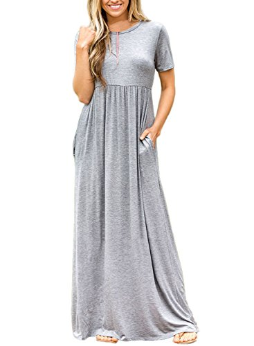 ZNCMRR Women's Short Sleeve Solid Casual Ruched Long Maxi Dress Party Dress with Pockets Plus Size (S, Gray)