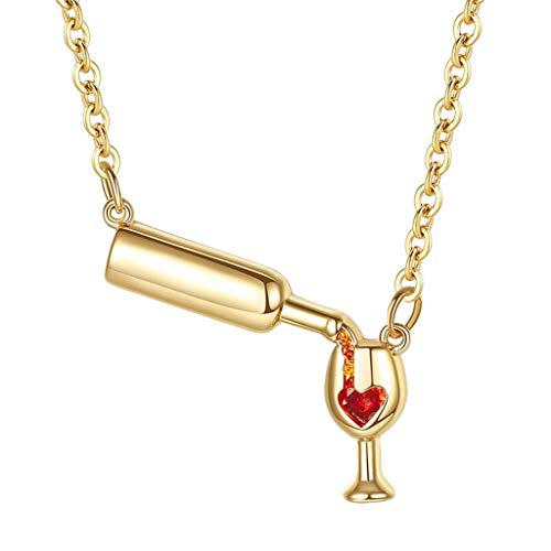 Wine Glass Bottle Lariat Y Necklace,Crytech Dainty Lovely White Gold Cheers Love Heart Enamel Rhinestones Charms Pendant Clavicle Chain for Women Girl Ladies Birthday Gifts (Gold)