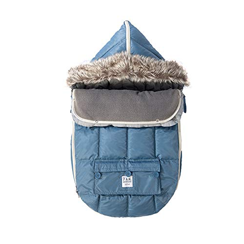 (7 A.M. Enfant Le Sac Igloo, Footmuff Safe for Car Seat and Stroller (Denim, Small))