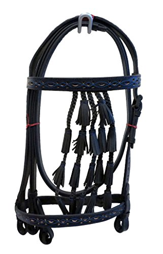 - Equitem Spanish Vaqueros Leather Horse Bridle with Braided Bell Tassels and Blue Color Cut-Out Detail