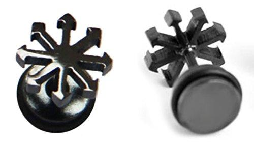 Thenice 1 Pair Punk Neutral Mens Snowflake Glossy Titanium Steel Earrings (Black)