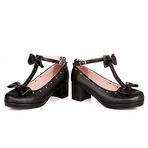 BalaMasa donna kitten-heels D anello materiale morbido t-strap pumps-shoes, Nero (Black), 35