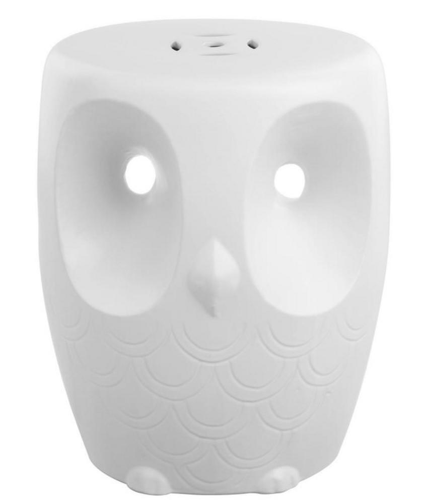 Fanciful Home & Garden Decor Decorative Garden Stool 17 Inch Ceramic Owl Face White NEW
