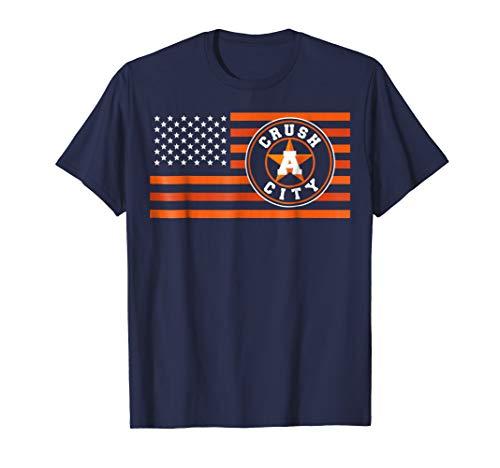 (Houston H-Town Flag Crush City Baseball Novelty Fan T-Shirt)
