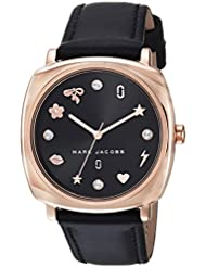 Marc Jacobs Womens Mandy Quartz Stainless Steel and Leather Casual Watch, Color:Black (Model: MJ1565)