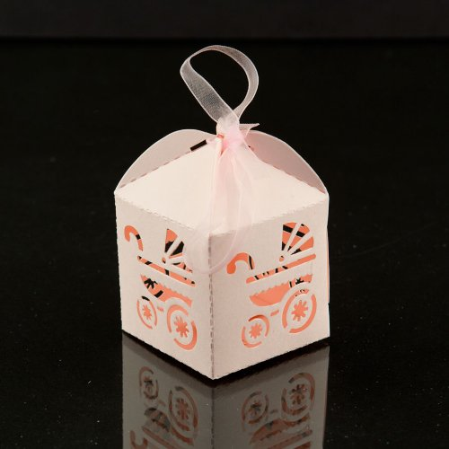 Iparty123 Baby Carriage Favor Candy Box Party Baby Shower Party Decorations 24 Pcs (Pink)