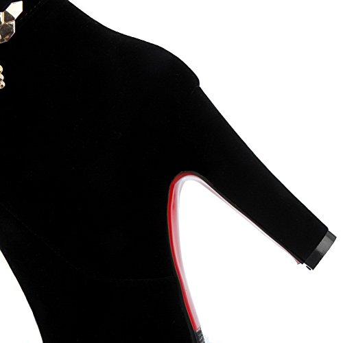 AllhqFashion Mujeres Tacón ancho Caña Media Cremallera Tachonado Botas con Colgantes Negro