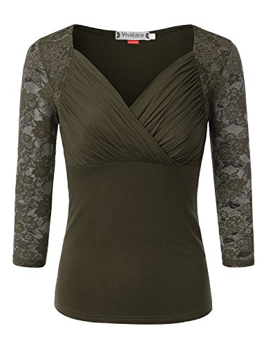 VIVALACE Womens 3/4 Lace Sleeve Cross-front V Neck Knit Top Green,2XL